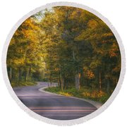 Road To Cave Point Round Beach Towel