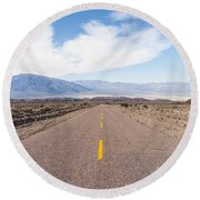 Road To Death Valley Round Beach Towel by Muhie Kanawati