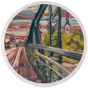 Road To My Town, 2004 Oil On Canvas Round Beach Towel