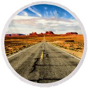 Road To Navajo Round Beach Towel