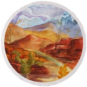 Round Beach Towel featuring the painting Road To Nowhere by Ellen Levinson