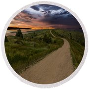 Road To Nowhere - Stormy Little Bend Round Beach Towel