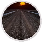 Road To The Sun Round Beach Towel