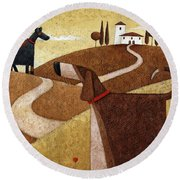 Road To Tuscany Round Beach Towel