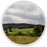 Round Beach Towel featuring the photograph Road Trip 2012 by Verana Stark