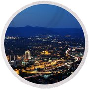 Roanoke City As Seen From Mill Mountain Star At Dusk In Virginia Round Beach Towel