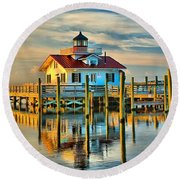 Roanoke Marsh Lighthouse Dawn Round Beach Towel