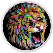 Round Beach Towel featuring the digital art Roar by Anthony Mwangi
