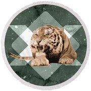 Roaring Tiger Round Beach Towel
