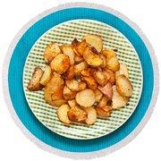 Roast Potatoes Round Beach Towel by Tom Gowanlock