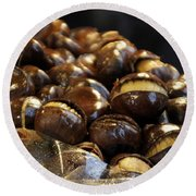 Round Beach Towel featuring the photograph Roasted Chestnuts by Lilliana Mendez