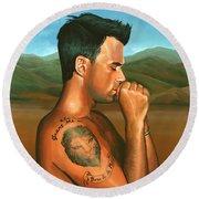 Robbie Williams 2 Round Beach Towel by Paul Meijering