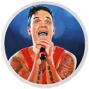 Robbie Williams Painting Round Beach Towel