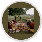 Robert Carrier's Moroccan Picnic In A Field Round Beach Towel