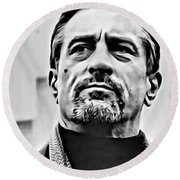 Robert De Niro Portrait Round Beach Towel
