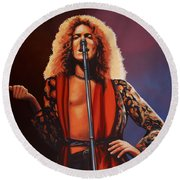 Robert Plant Of Led Zeppelin Round Beach Towel by Paul Meijering