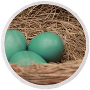 Robins Three Blue Eggs Round Beach Towel