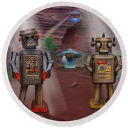 Robots With Attitudes  Round Beach Towel