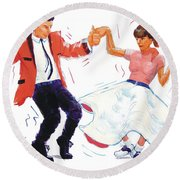 Rock And Roll Dancers Round Beach Towel
