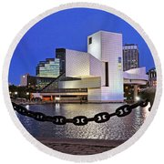 Round Beach Towel featuring the photograph Rock And Roll Hall Of Fame - Cleveland Ohio - 1 by Mark Madere