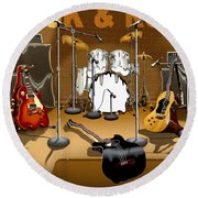 Rock And Roll Meltdown Round Beach Towel by Mike McGlothlen