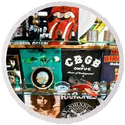 Rock And Roll On St. Marks   Nyc Round Beach Towel