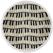 Rock And Roll Piano Keys Round Beach Towel