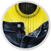 Rock And Roll Woman Round Beach Towel