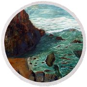Rock Beach And Sea Round Beach Towel