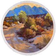 Rock Cairn At La Quinta Cove Round Beach Towel