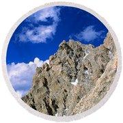 Rock Climber Grand Teton National Park Round Beach Towel