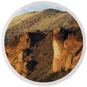 Rock Climbing In Smith Rock State Park Round Beach Towel