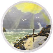Round Beach Towel featuring the painting Rock Fishing At Wombarra  by Pamela  Meredith