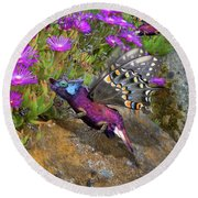 Rock Flower Birguana Fly Round Beach Towel