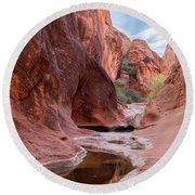 Rock Formations At Water Canyon Trail Round Beach Towel