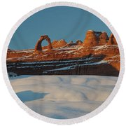 Rock Formations In Winter, Delicate Round Beach Towel