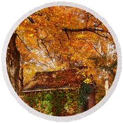 Rock Of Ages Surrouded By Color Round Beach Towel by Jeff Folger