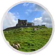 Rock Of Cashel In The Distance Round Beach Towel by DejaVu Designs