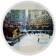 Rockefeller Center Ice Skaters Nyc Round Beach Towel