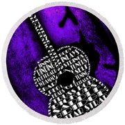 Rockin Guitar In Purple Round Beach Towel