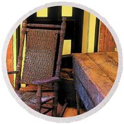 Rocking Chair And Woodbox Round Beach Towel by Rodney Lee Williams