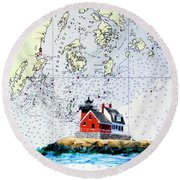 Rockland Breakwater Light Round Beach Towel