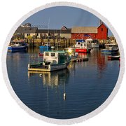 Rockport Harbor No.1 Round Beach Towel