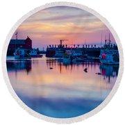 Rockport Harbor Sunrise Over Motif #1 Round Beach Towel by Jeff Folger