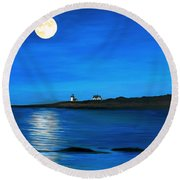 Rockport Harvest Moon Round Beach Towel by Eileen Patten Oliver