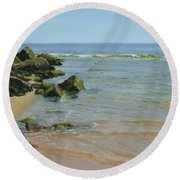 Rocks And Shallows Round Beach Towel