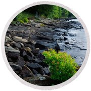 Round Beach Towel featuring the photograph Rocks And Trees Along Lake Superior by Panoramic Images