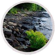 Rocks And Trees Along Lake Superior Round Beach Towel