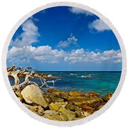 Rocks At The Coast, Aruba Round Beach Towel