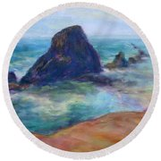 Rocks Heading North - Scenic Landscape Seascape Painting Round Beach Towel